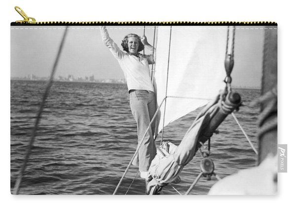 Woman On Bow Sprit Of Sailboat Carry-all Pouch