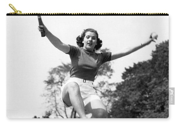 Woman Player Leaping Over Net Carry-all Pouch