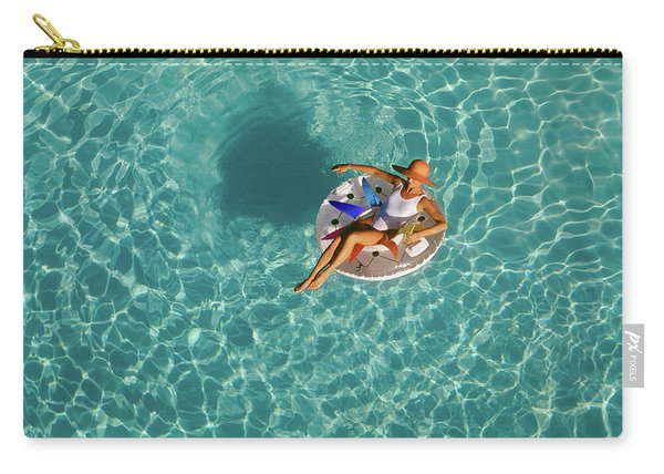 Woman Sitting On Float In Swimming Pool Carry-all Pouch