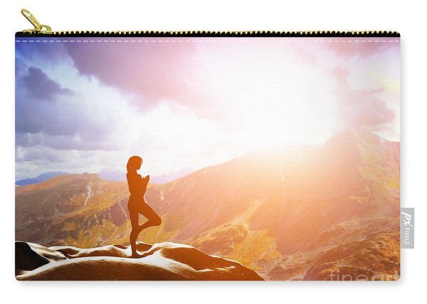 Woman Standing In Tree Yoga Position Meditating In Mountains At Sunset Carry-all Pouch