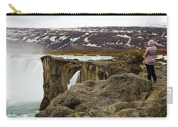 Woman Standing On Rock And Watching Carry-all Pouch
