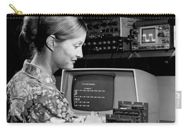 Woman Testing A Microcomputer Carry-all Pouch