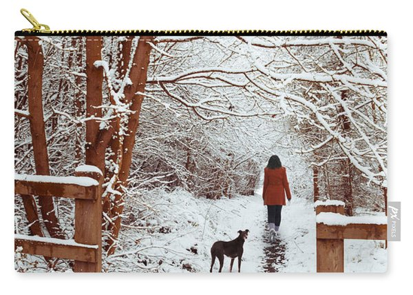 Woman Walking Dog Carry-all Pouch