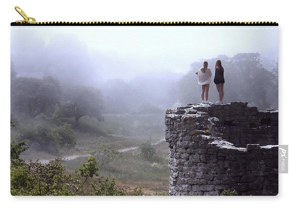 Women Overlooking Bright Foggy Valley Carry-all Pouch