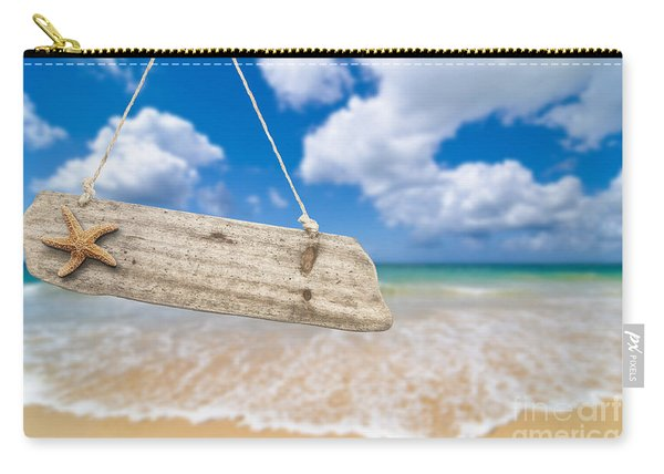 Wooden Beach Sign Algarve Portugal Carry-all Pouch