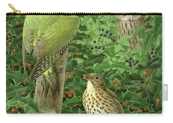 Woodpecker Owl And Thrush  Carry-all Pouch