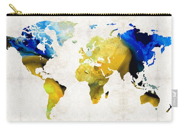 World Map 16 - Yellow And Blue Art By Sharon Cummings Carry-all Pouch