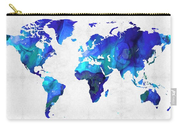 World Map 17 - Blue Art By Sharon Cummings Carry-all Pouch