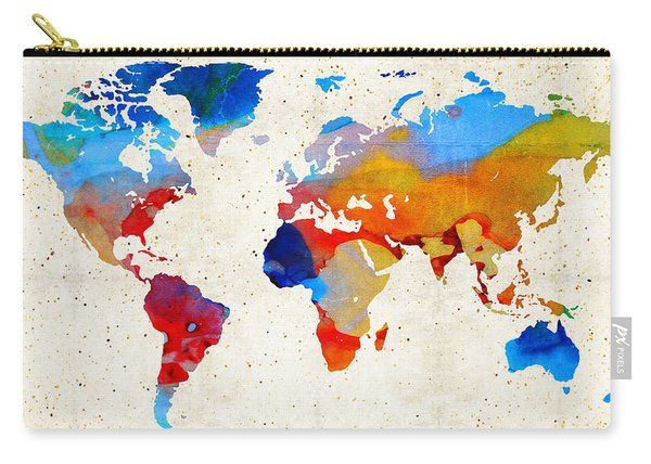 World Map 18 - Colorful Art By Sharon Cummings Carry-all Pouch