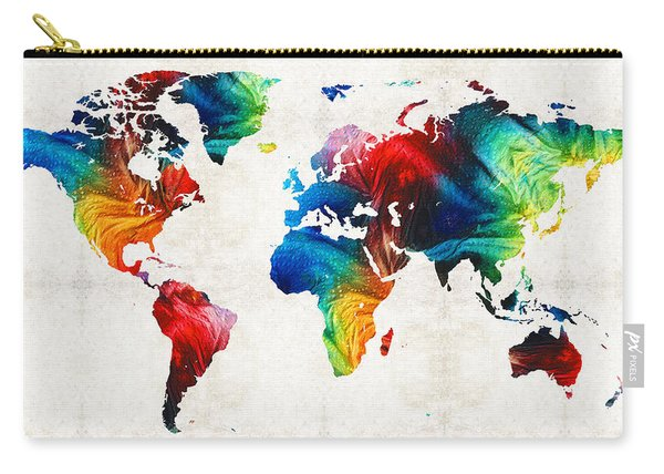 World Map 19 - Colorful Art By Sharon Cummings Carry-all Pouch