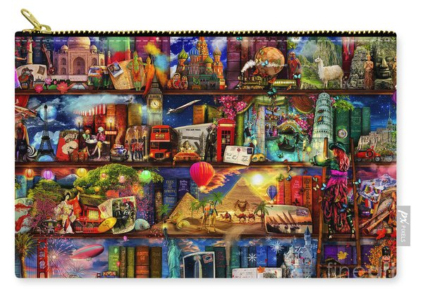 World Travel Book Shelf Carry-all Pouch