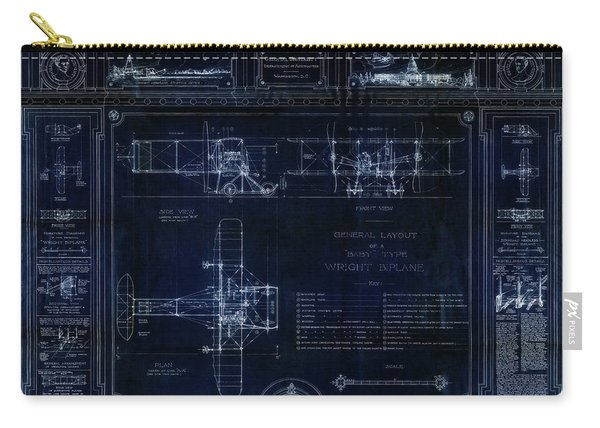 Wright Bros 'roadster' Biplane Blueprint - 1908 Carry-all Pouch