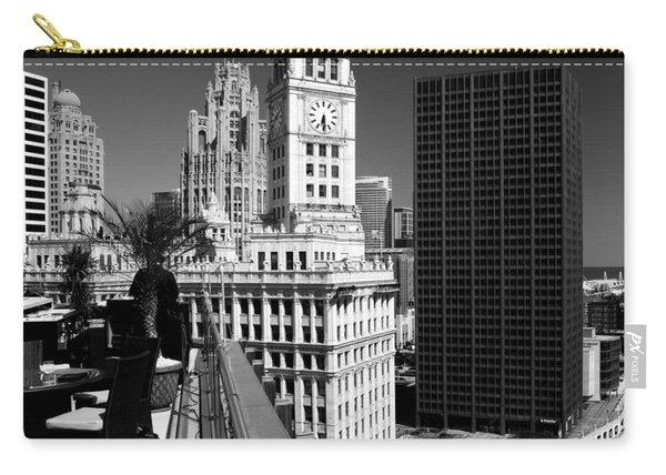 Wrigley Clock Tower Skyline Black White Carry-all Pouch