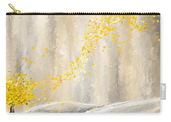 Yellow And Gray Landscape Carry-all Pouch