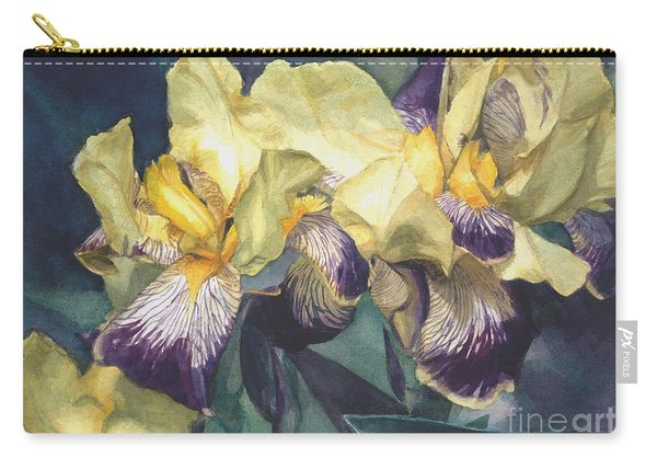 Watercolor Of A Tall Bearded Iris Painted In Yellow With Purple Veins Carry-all Pouch
