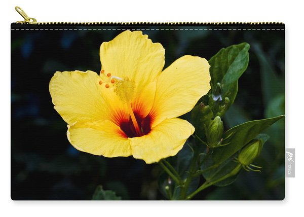Yellow And Red Hibiscus Carry-all Pouch