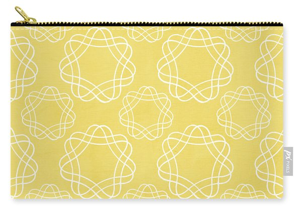 Yellow And White Geometric Floral  Carry-all Pouch