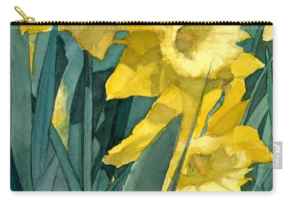 Watercolor Painting Of Blooming Yellow Daffodils Carry-all Pouch