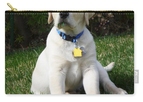 Yellow Lab Puppy Standing Guard  Carry-all Pouch