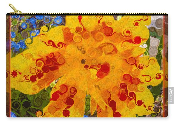 Yellow Lily With Streaks Of Red Abstract Painting Flower Art Carry-all Pouch