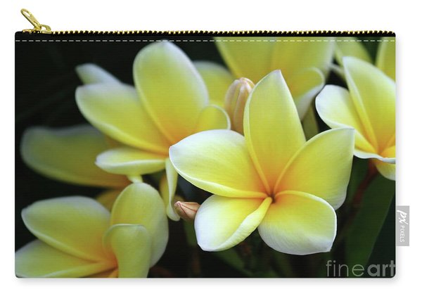 Yellow Plumeria Cascade Carry-all Pouch