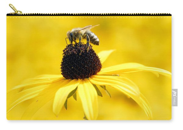 Yellow Sea Of Flowers - And A Bee Carry-all Pouch