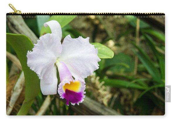 Yellow Throated White Orchid Carry-all Pouch
