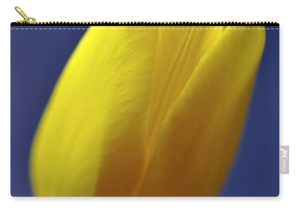 Yellow Tulip On Blue Background Carry-all Pouch