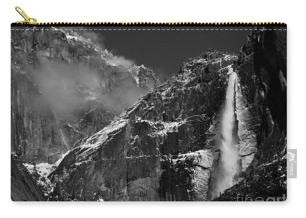 Yosemite Falls In Black And White Carry-all Pouch