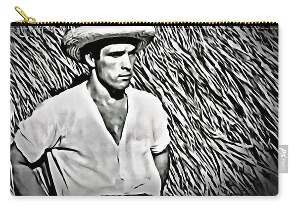 Young Man With Straw Hat Carry-all Pouch
