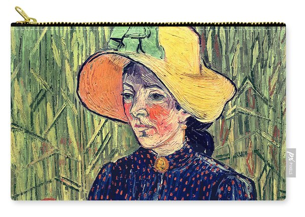 Young Peasant Girl In A Straw Hat Sitting In Front Of A Wheatfield Carry-all Pouch