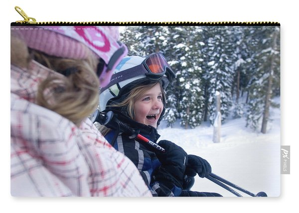 Young Woman And Child  Riding Chairlift Carry-all Pouch