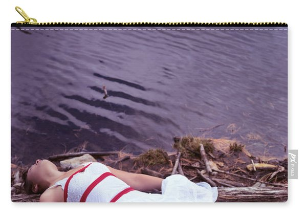 Young Woman In Dress And Bondage Rope Lying Near Water Carry-all Pouch