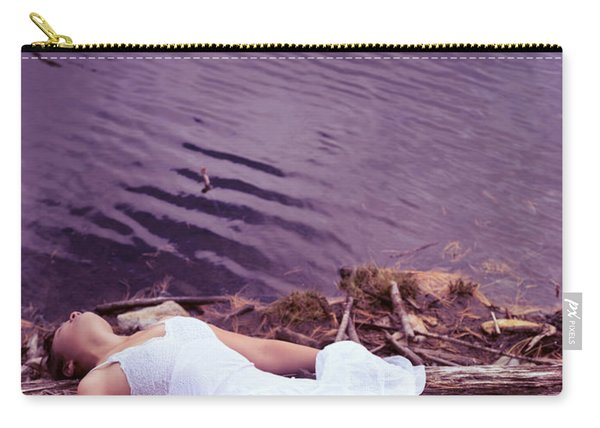 Young Woman In White Dress Lying Near Lake Carry-all Pouch