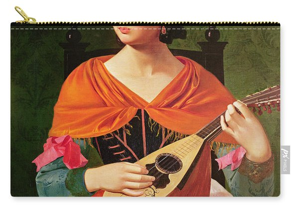 Young Woman With A Mandolin Carry-all Pouch