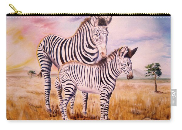 Zebra And Foal Carry-all Pouch