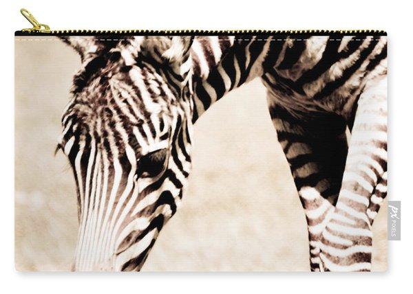 Zebra Foal Sepia Tones Carry-all Pouch