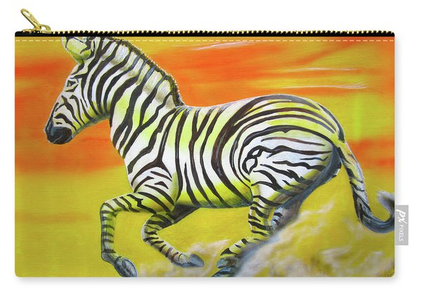 Zebra Kicking Up Dust Carry-all Pouch
