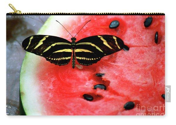 Zebra Longwing Butterfly On Watermelon Slice Carry-all Pouch