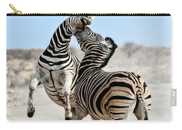 Zebra Stallions Fighting In Etosha Np Carry-all Pouch
