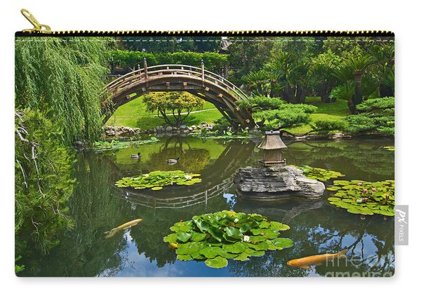 Zen - Japanese Garden With Moon Bridge And Lotus Pond With Koi Fish. Carry-all Pouch