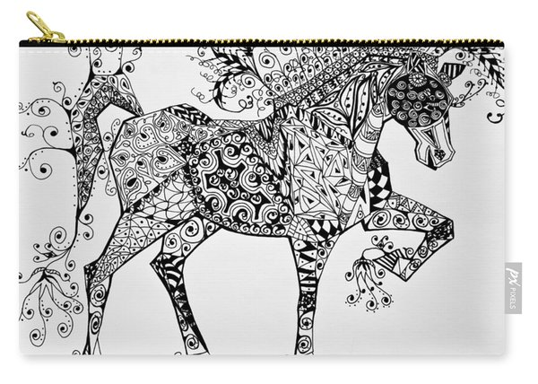 Zentangle Circus Horse Carry-all Pouch