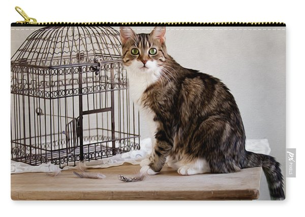 Cat And Bird Carry-all Pouch