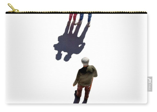 Miniature Figurines Couple Watching Elderly Man Carry-all Pouch