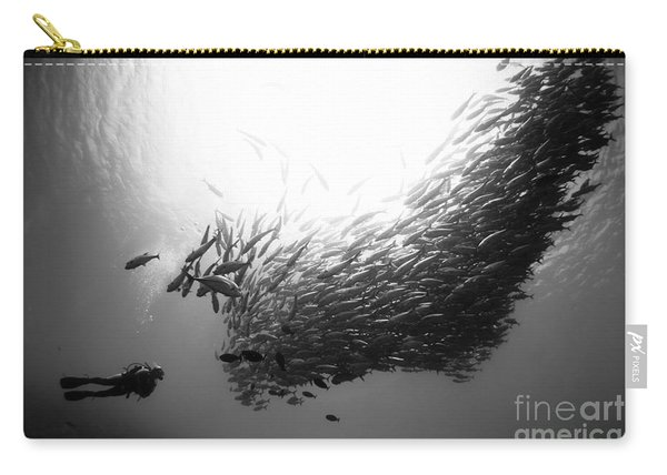 A Diver Looks On At Schooling Jacks Carry-all Pouch