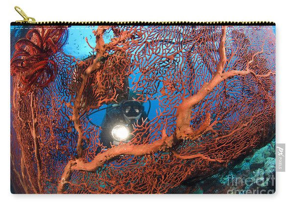 A Diver Peers Through A Red Sea Fan Carry-all Pouch