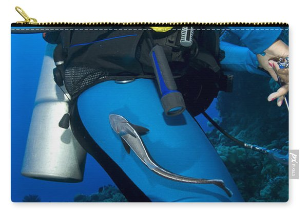 A Remora Attached To A Diver, Kimbe Carry-all Pouch