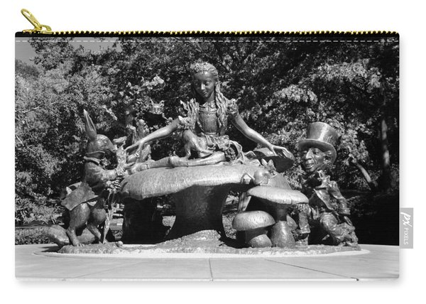 Alice In Wonderland In Central Park In Black And White Carry-all Pouch