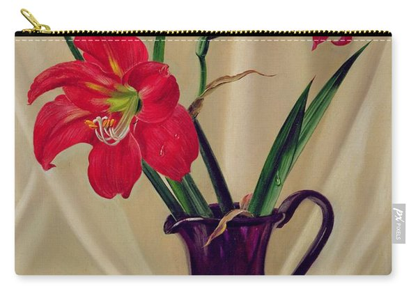 Amaryllis Lillies In A Dark Glass Jug Carry-all Pouch
