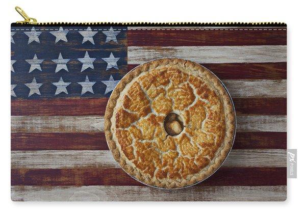 Apple Pie On Folk Art  American Flag Carry-all Pouch